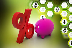 Piggy bank with percentage sign Stock Photography