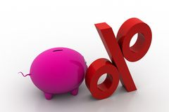 Piggy bank with percentage sign Stock Photos