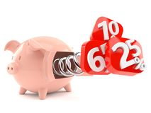 Piggy bank with percents. On white background Royalty Free Stock Images