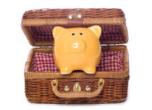 Piggy bank in a picnic basket cutout Royalty Free Stock Images