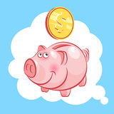 Piggy bank pig and coin. Moneybox. Stock Photography