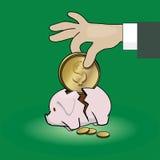 Piggy bank. Pig piggy bank. Hand puts a coin in a piggy bank Stock Images
