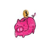 Piggy bank pig stamp Stock Image