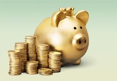 Piggy bank. British currency gold currency coin savings stack Royalty Free Stock Photos