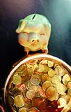 Piggy bank with piggy bank with gold bucket. royalty free stock image