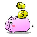 Piggy bank. Vector design isolated Stock Photography