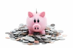 Piggy Bank in Pile of Coins Stock Images