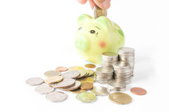 Piggy bank on a pile of coins Stock Images