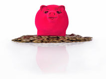 Piggy bank on the piles of gold coins on a white Stock Photography