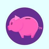 Piggy Bank Ping Circle Icon Flat Vector Royalty Free Stock Photo