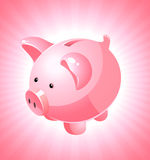 Piggy bank on pink background Royalty Free Stock Photography
