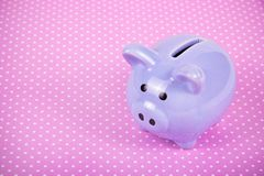 Piggy bank on pink background. Little pig. Toy pig. Pig year symbol. Copy space royalty free stock photography