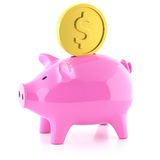 Piggy bank pink  and golden coin Royalty Free Stock Photography