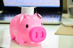 Dolls, piggy bank, pink piggy bank, saving. Piggy bank, pink piggy bank, white graduation cap, savings for scholarship, educational goals Capital must be used Stock Image