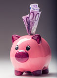 Piggy bank.Pink Piggy save and Five hundred Euro banknotes.Toned photo Stock Images
