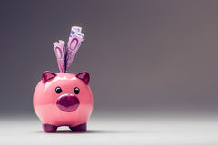 Piggy bank.Pink Piggy save and Five hundred Euro banknotes.Toned photo Stock Photography