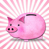 Piggy bank with pink rays. Stock Images