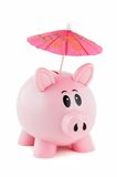 Piggy Bank With Pink Umbrella Royalty Free Stock Photography