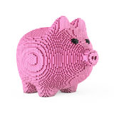 Piggy Bank in Pixel Art Style. 3d Rendering. Piggy Bank in Pixel Art Style on a white background. 3d Rendering Royalty Free Stock Photos
