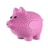 Piggy Bank in Pixel Art Style. 3d Rendering. Piggy Bank in Pixel Art Style on a white background. 3d Rendering Stock Photo