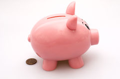 Piggy Bank Pooping a Penny. Isolated on White Background Royalty Free Stock Photography