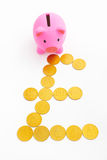 Piggy bank and pound sterling sign. Pink piggy bank and pound sterling sign made from gold coins over white background stock images