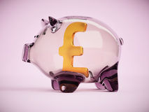 Piggy bank with pound sterling sign inside 3d illustration Stock Images