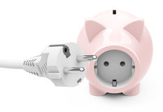 Piggy bank with power socket Stock Image