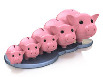 Piggy bank profit. In the design of the information related to finance and business Stock Photo