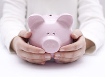 Piggy bank protected by hands. Big pink piggy bank protected by hands stock photo