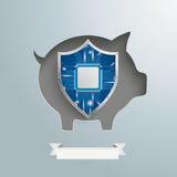 Piggy Bank Protection Shield Stock Image