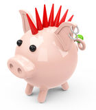 The piggy bank punk Stock Photos