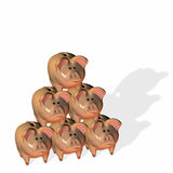 Piggy Bank Pyramid. Six piggy banks stacked in a pyramid stock illustration