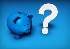 Piggy Bank Question Mark. Savings and investment concept with a funny blue piggybank and white question mark Royalty Free Stock Photo