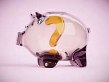 Piggy bank with question mark inside 3d illustration Stock Photos