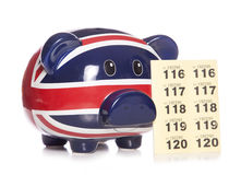 Piggy bank with raffle tickets Stock Photos
