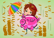 Piggy bank and rain gold coin cartoon Stock Photos