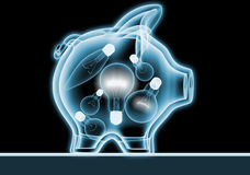 Piggy bank with x-rays Royalty Free Stock Images