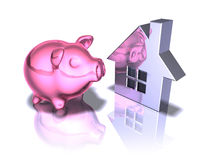 Piggy bank real estate Stock Image