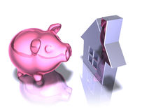 Piggy bank real estate Royalty Free Stock Photography