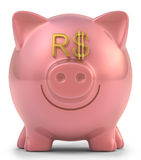 Piggy Bank Real. Piggy bank with eyes Brazilian money sign. Clipping path included Royalty Free Stock Photos