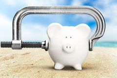 Piggy Bank Recession Stock Photo