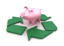 Piggy Bank and Recycling Symbol Royalty Free Stock Image