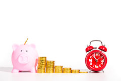 Piggy bank,red alarm clock  and gold coin Royalty Free Stock Photos
