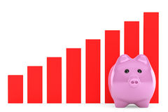 Piggy Bank with Red Graphic Royalty Free Stock Images