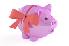Piggy bank with red ribbon and bow, 3D rendering. On white background Stock Images