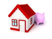 Piggy Bank with red roof house on white. Real estate concept 3d render illustration Stock Image