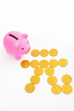 Piggy bank and renminbi sign Royalty Free Stock Photos