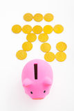 Piggy bank and renminbi sign Stock Photos
