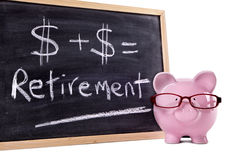 Retirement planning, Piggy Bank with pension fund growth calculation Royalty Free Stock Images